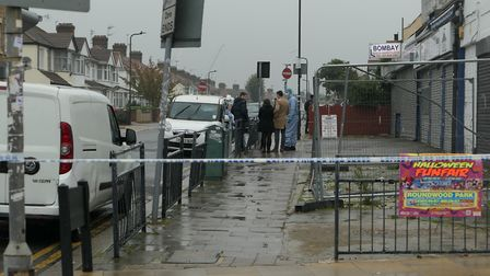 The scene in Berkeley Road, Kingsbury, after two people were stabbed. Picture: David Nathan