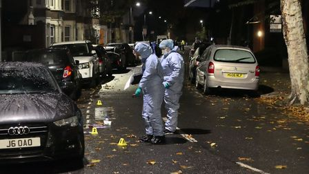 A police forensics team on the scene of a stabbing in Mordaunt Road, Harlesden. Picture: David Natha