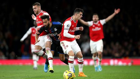 Crystal Palace's Andros Townsend is sandwiched by Arsenal's Calum Chambers (left) and Granit Xhaka (
