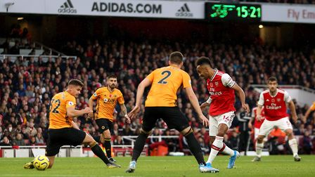 Arsenal's Pierre-Emerick Aubameyang scores his side's first goal of the game during the Premiership