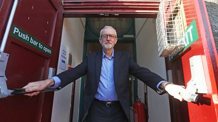 Stock image of Labour leader Jeremy Corbyn leaves after speaking at an activists training event at t