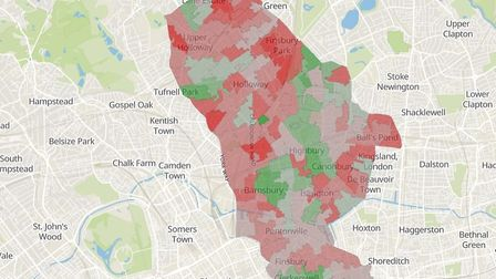Map showing overall levels of deprivation in Islington. The darker the colour the more deprived the
