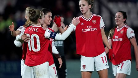 Arsenal's Kim Little celebrates scoring her side's second goal during the UEFA Women's Champions Lea