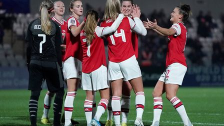 Arsenal's Jill Roord celebrates scoring her side's third goal during the UEFA Women's Champions Leag
