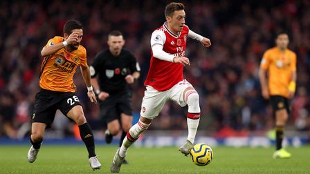 Arsenal's Mesut Ozil in action during the Premier League match at The Emirates Stadium, London. Pict
