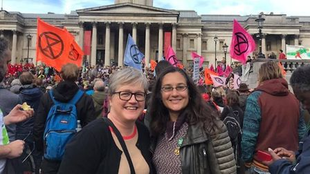 Cllr Caroline Russell and Talia Hussain protesting in Trafalgar Square about the right to peaceful a