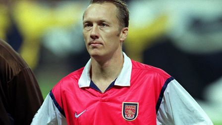 Lee Dixon of Arsenal during their UEFA Champions' League football match against AIK Solna, at Wemble