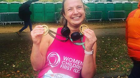 Laura Bessell after running the Royal Parks Half Marathon. Picture: Women and Children First