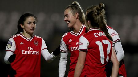 Arsenal's Vivianne Miedema celebrates after she scores her side's fifth goal during the Women's Leag