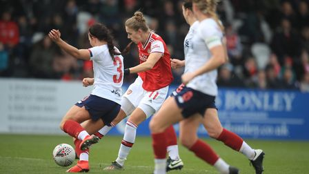 Arsenal's Vivianne Miedema scores the opening goal during the Women's Super League match at Meadow P