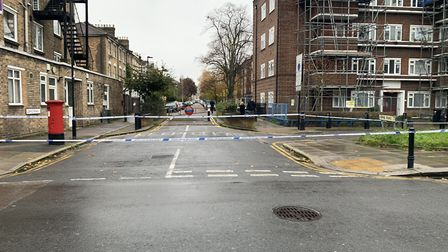Police tape in Stroud Green Road. Picture: Colette Collins-Walsh