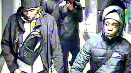 Police want to trace these men in connection with a robbery in Euston on November 6. Picture: BTP