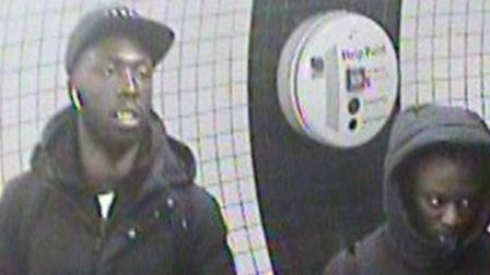 Police want to trace these men in connection with a robbery in Lancaster Gate Picture: BTP