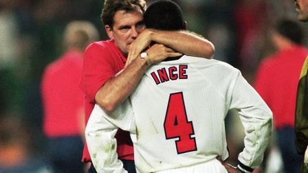 Hoddle consoles Paul Ince after his missed penalty against Argentina in the 1998 World Cup. Picture: