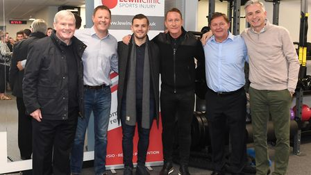 Pat Rice, Colin Lewin, Jack Wilshere, Ray Parlour, Gary Lewin and Alan Smith at the Lewin Sports Inj