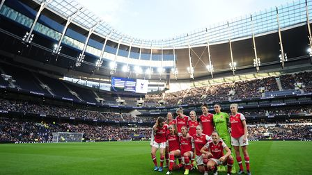 Arsenal pose for a photo before the FA Women's Super League match at the Tottenham Hotspur Stadium,
