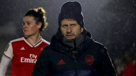 Arsenal Manager, Joe Montemurro during the Women's League Cup match at Meadow Park, London. Picture:
