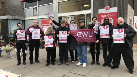 Protestors outside former Upper Holloway Crown Post Office earlier this year. Picture: Gary Watt