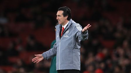 Arsenal manager Unai Emery gestures on the touchline during the UEFA Europa League Group F match at