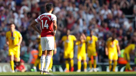 Arsenal's Pierre-Emerick Aubameyang appears dejected during the Premier League match at The Emirates