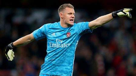 Arsenal goalkeeper Bernd Leno in action during the Premier League match at the Emirates Stadium, Lon