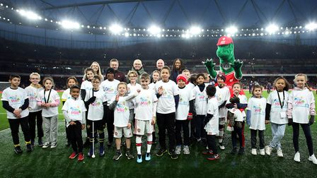 Junior Gunners and the Daily Mile at the Arsenal v Southampton English Premier League match, at the