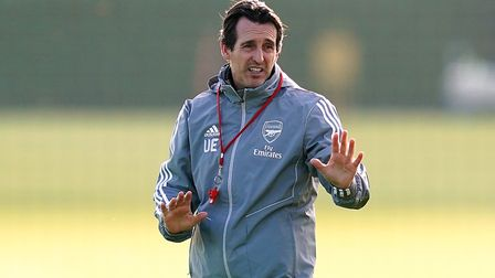 Arsenal manager Unai Emery during the training session at London Colney. Picture: John Walton/PA