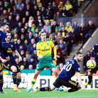 Norwich City's Todd Cantwell (centre) scores his side's second goal of the game the Premier League m