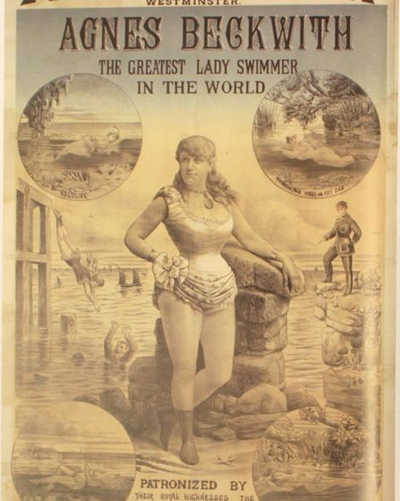 Agnes Beckwith greatist swimmer poster from 1885.