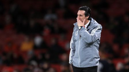 Arsenal manager Unai Emery reacts on the touchline during the UEFA Europa League Group F match at th