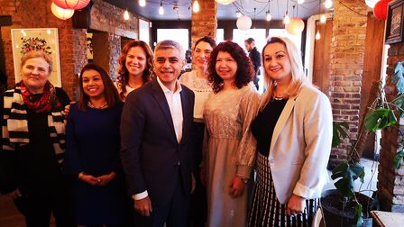 Sadiq Khan with Tulip Siddiq and women from the Brent Romanian community. Picture: Adrian Zorzut