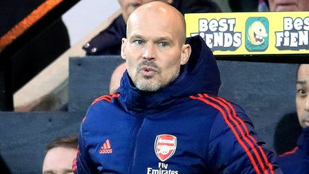Arsenal interim manager Freddie Ljungberg watches match action on the touchline during the Premier L