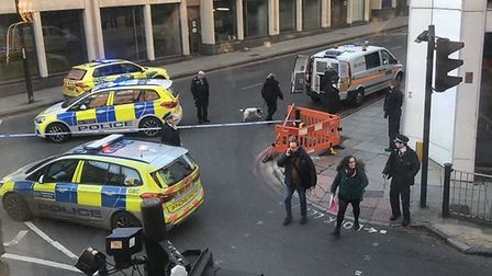 Police at the scene in Goswell Road. Picture: @anna_michaux