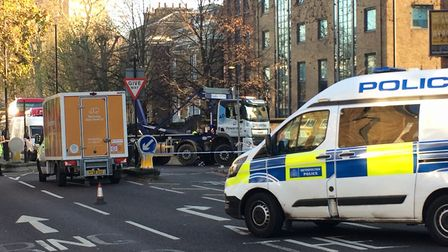 A woman was hit by a lorry in City Road. Picture: Regan King
