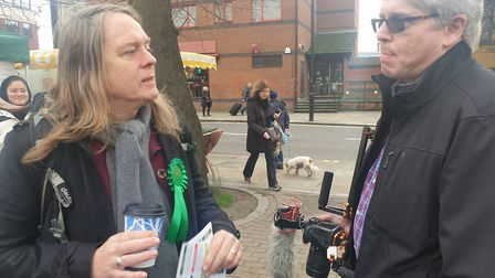 David Stansell speaks to a voter in West Hampstead. Picture: Harry Taylor