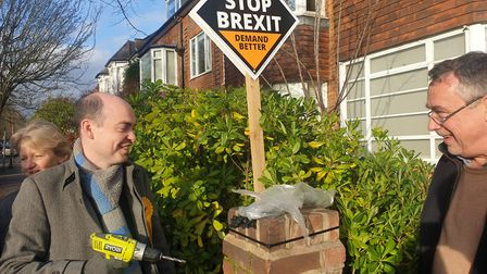 All smiles in Queen's Park as Lib Dem activists put up another stake board in Kingswood Avenue. Pict
