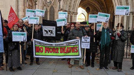 Defend the Whittington Coalition campaigners protesting outside of the High Court. Picture: Sam Volp