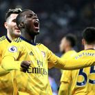 Arsenal's Nicolas Pepe celebrates scoring his sides second goal during the Premier League match at t