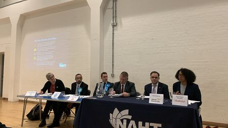 NAHT election hustings. From left: Cllr Carline Russell (Green), Yosef David (Brexit Party), James C