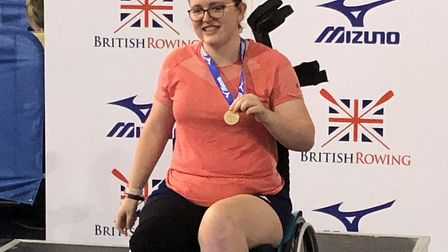 Helena Stone became British Indoor Rowing Champion in the AR3-PD classification in the 4min timetri