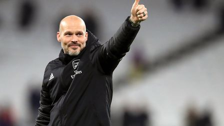 Arsenal interim manager Freddie Ljungberg celebrates their win after the final whistle during the Pr