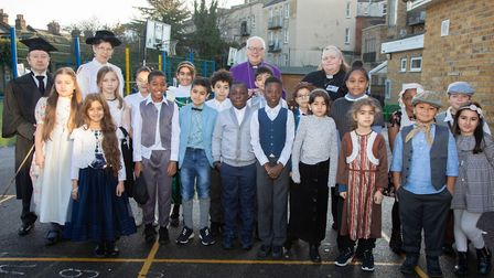 Children and staff mark Christchurch School's 130th birthday by dressing in Victorian clothes. Pict