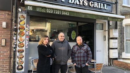Fonthill Road traders Nurgil Tarim, Oktay Simsek and Ayhan Numan outside Happy Days Grill. Picture: