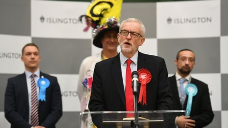 Labour leader Jeremy Corbyn speaks after the results was given at Sobell Leisure Centre for the Isli