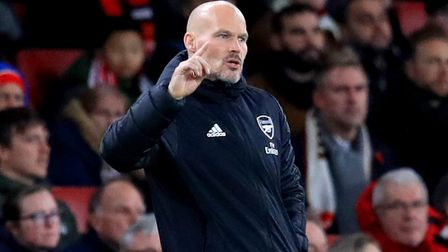 Arsenal interim manager Freddie Ljungberg gestures on the touchline during the Premier League match