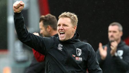 Bournemouth manager Eddie Howe celebrates after the final whistle during the Premier League match at