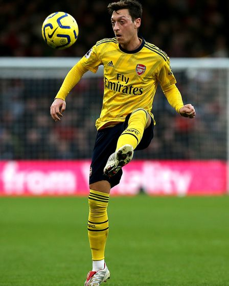 Arsenal's Mesut Ozil during the Premier League match at the Vitality Stadium