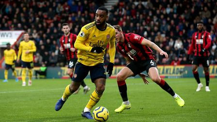 Arsenal's Alexandre Lacazette in action during the Premier League match at the Vitality Stadium