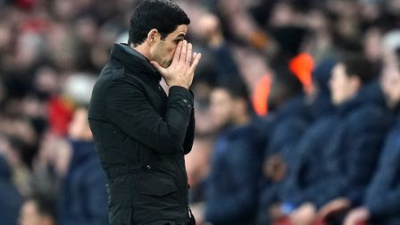 Arsenal manager Mikel Arteta looks dejected after Chelsea score their first goal during the Premier