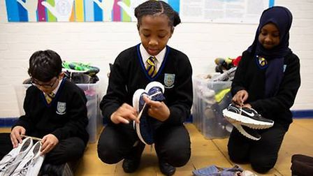 Kingsbury High Pupils collected unwanted shoes for Unicef